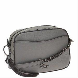 New Coach Grey Leather Crossbody Shoulder Bag